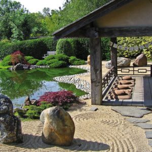 osmosis meditation garden with rocks and pond